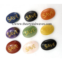 Mix Assorted Gemstones Save Engraved Oval Cabochon