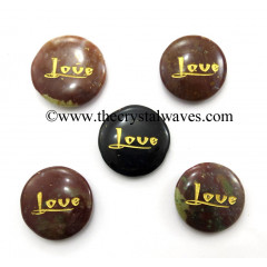Fancy Jasper Love Engraved Round Cabochon