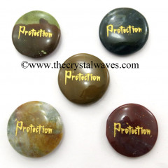 Fancy Jasper Protection Engraved Round Cabochon
