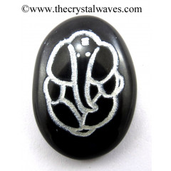 Black Agate Oval Fine Engraved Ganesha