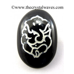 Black Agate Oval Fine Engraved Ganesh