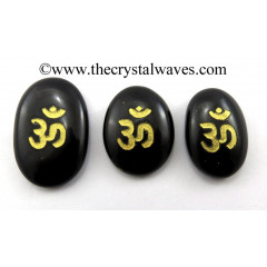 Black Agate Oval Fine Engraved Om