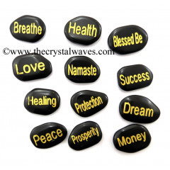 Black Agate Fine Engraved Words 12 Pc Set