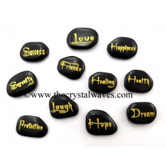 Black Agate Fine Engraved Words 11 Pc Set