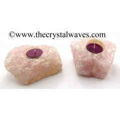 Rose Quartz Natural Rough Tea Light Holder
