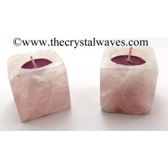 Rose Quartz Cube Tea Light Holder