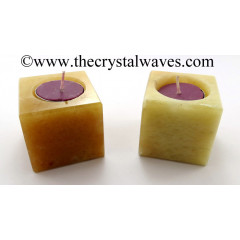 Yellow Aventurine Cube Tea Light Holder