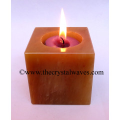 Red Aventurine Cube Tea Light Holder