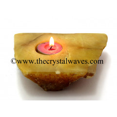 Yellow Aventurine Flat Tea Light Holder
