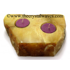 Yellow Aventurine Flat Multi Tea Light Holder