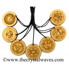 Wooden Engraved Chakra Set Pendant