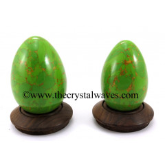 Green Turquoise W/Copper Matrix (Manmade) Eggs