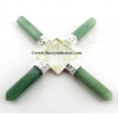 Green Aventurine ( Light) & Crystal Quartz Pyramid Energy Generator