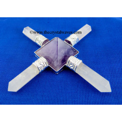 Rose Quartz & Amethyst Pyramid Energy Generator