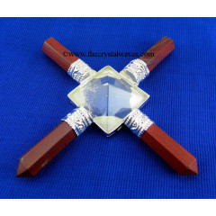 Red Jasper & Crystal Quartz Pyramid Energy Generator