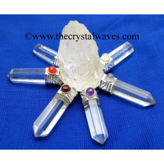 Crystal Quartz Rough Point Crystal Pencil W/Chakra Cab. Energy Generator