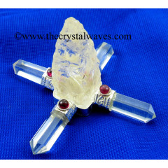 Crystal Quartz Rough Point W/Garnet Cab. Energy Generator
