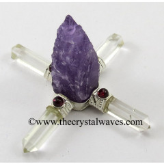 Amethyst Rough Point W/Garnet Cab. Energy Generator