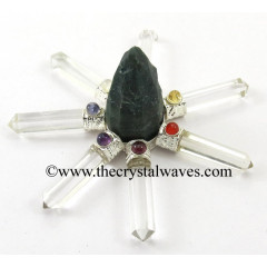Blood Agate  Rough Point Crystal Pencil W/Chakra Cab. Energy Generator