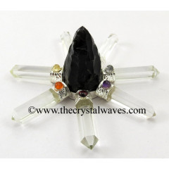 Black Obsidian Rough Point Crystal Pencil W/Chakra Cab. Energy Generator
