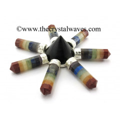 Black Agate Conical Pyramid Chakra Bonded Pencil Generator