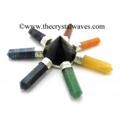 Blue / Black Tiger Eye Agate  Conical Pyramid Chakra Pencil Generator