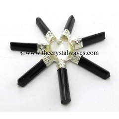 Crystal Quartz Conical Pyramid Black Tourmaline Pencil Energy Generator