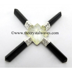 Crystal Quartz Pyramid Black Tourmaline Pencil Energy Generator