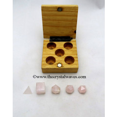 Rose Quartz 5 Pc Geometry Set With Wooden Box