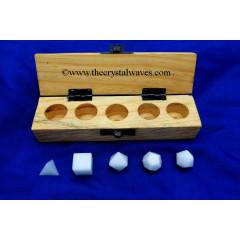 Snow Quartz 5 Pc Geometry Set With Wooden Box