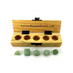 Green Aventurine 5 Pc Geometry Set With Wooden Box