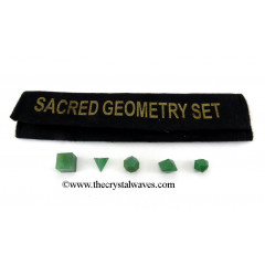 Green Aventurine  5 Pc Geometry Set With Velvet Pouch
