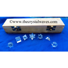 Crystal Quartz 7 Pc Geometry Set With Wooden Box