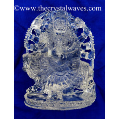 Exclusive Crystal Quartz / Sfatik Hand Carved Goddess Durga Idol