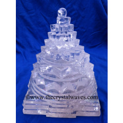 Exclusive Crystal Quartz / Sfatik Hand Carved Meru Yantra