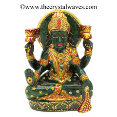 Exclusive Green Aventurine Hand Carved Gold Painted Goddess Lakshmi Ji Idol