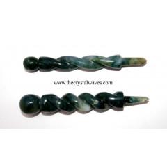 Moss Agate Twisted Healing Stick