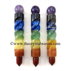 7 Chakra Bonded Twisted Healing Stick