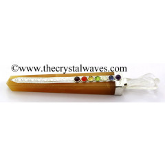 Yellow Aventurine Tower Chakra Healing Stick With Angel
