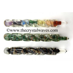 Mix Assorted Gemstones Orgone Spiral Healing Stick
