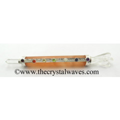 Orange Selenite Smooth Chakra Healing Stick With Angel