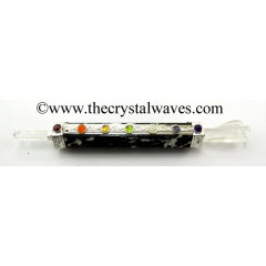 Black & White Tourmaline Chakra Healing Stick With Angel