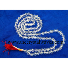 Crystal Quartz A+ Grade Faceted Drum Polish 7 - 9 mm Knotted Jap Mala