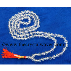 Crystal Quartz A Grade Faceted Drum Polish 7 - 9 mm Knotted Jap Mala