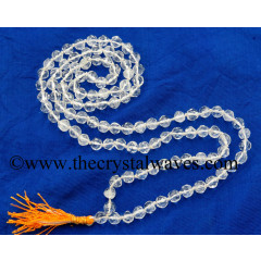 Crystal Quartz B+ Grade Faceted Drum Polish 7 - 9 mm Knotted Jap Mala