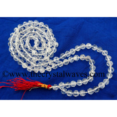 Crystal Quartz B Grade Faceted Drum Polish 7 - 9 mm Knotted Jap Mala
