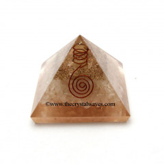 Rose Quartz Orgone Pyramid With Copper Wrapped Crystal Point