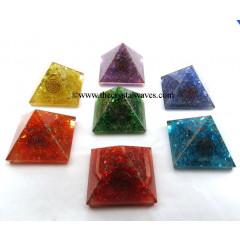 Chakra Orgonite Pyramids Dyed Quartz