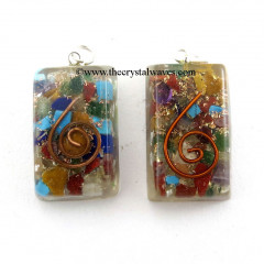 Chakra Orgone Square Rectangle Pendants