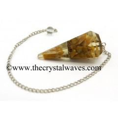 Yellow Aventurine Chips Orgone Faceted Pendulum